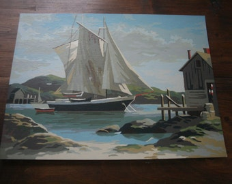 Vintage Paint by Numbers Seascape Nautical Ocean Ship Painting