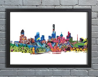 Melbourne Skyline Abstract- Graffiti, Street art, Cityscape, Artwork, Wallart, poster, City, MEL, Picture A1 & A2