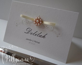 10 Bespoke Personalised 'Aurous' place Cards x 10