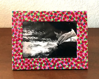 """Hand Painted Frame - 3.5""""x5"""" - Polka Dot Red/Pink/Green/Light Green/Blue"""
