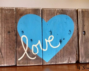 Love Hand-Painted Reclaimed Wooden Sign-Ships FREE!