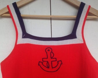 80s tank top, knit sweater tank top, nautical shirt, embroidered boat anchor shirt, vintage summer tank top, red white blue