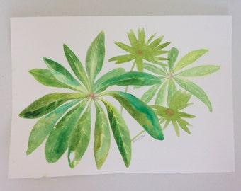 ORIGINAL ART watercolour. Tropical leaves.