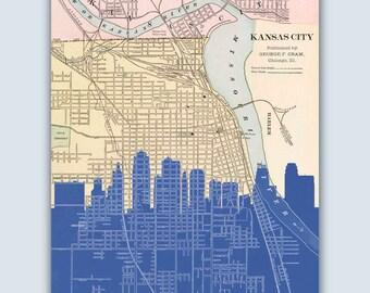Kansas City Skyline, Kansas City Art, Kansas City Map, Kansas City Poster, Kansas City Print, Personalized Skyline Print, Wedding Gift