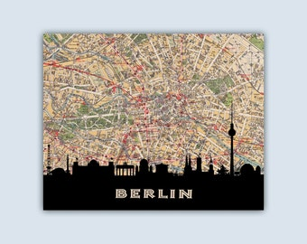berlin stadtplan etsy. Black Bedroom Furniture Sets. Home Design Ideas