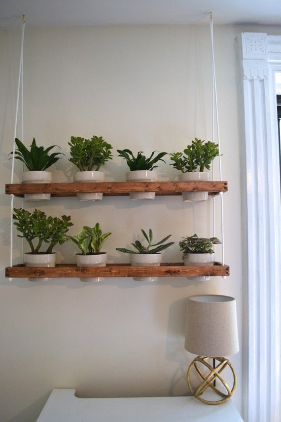 2 tier hanging indoor wall planter made to order by pinoakprojects. Black Bedroom Furniture Sets. Home Design Ideas
