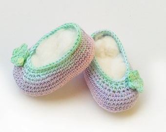 Crochet baby shoes, crochet baby ballet shoes, crochet shoes, crochet baby booties, baby shower gift, crochet booties, newborn baby slippers