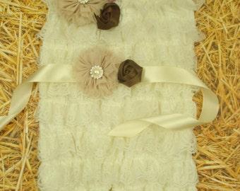 Baby Girl Romper Romper baby's birthday Cream lace romper baby Lace Romper baby Petti Romper infants Baby Girl Clothes set Baby girl gift