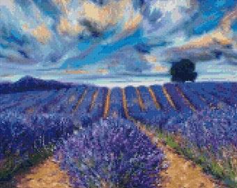 Van Gogh Lavender Fields Landscape Cross Stitch Pattern - PDF Instant Download! Includes EZ Eye chart!