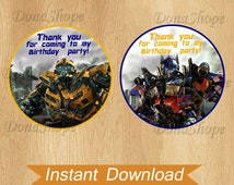 Transformers Favor Tag ,Favor Bag Toppers, Transformers Thank You Tags, Circle labels, Instant Download, Digital File