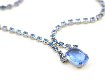 Vintage Cornflower Blue Rhinestone Necklace - Circa 1950