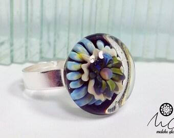 Implosion of glass ring. Lampwork Beads. Handmade by MALAKAGLASS