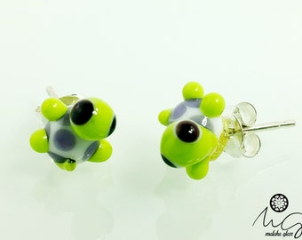 Silver and glass, model turtle earrings. Lampwork Beads. Handmade by MALAKAGLASS
