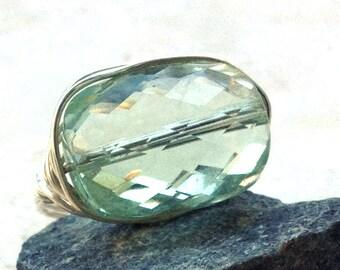Large Green Amethyst Ring--Prasiolite Ring--Gemstone Ring--Prasiolite Jewelry