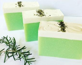 Rosemary Mint Avocado Coconut Cream Cold Process Soap Bar