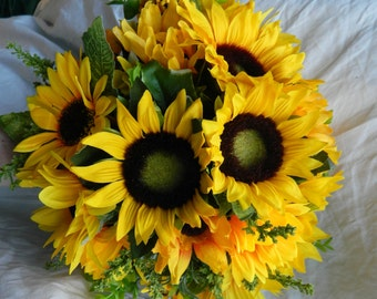 Stunning wedding flowers brides posie bouquet sunflower