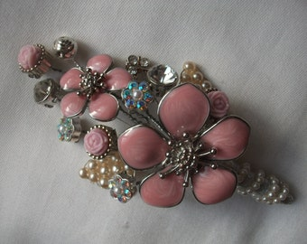 Wedding, Bridal, Races, Ball, Corsage, Buttonhole, Boutonniere, Embellishments of Pink Flowers, Crystal & Faux Pearls