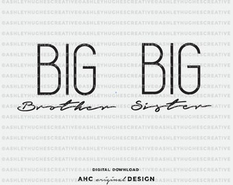 Big Brother Big SIster SVG Sibling cut file. Cricut Explore and more. Big Brother Cutting File, Cut Files, Big Sister Vector, Silhouette
