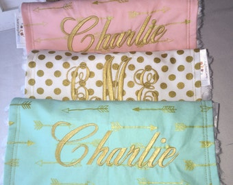 Set of 3 Personalized butp cloths with arrow designer fabrics
