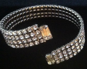 Antique Art Deco Flapper Rhinestone Cuff Bracelet