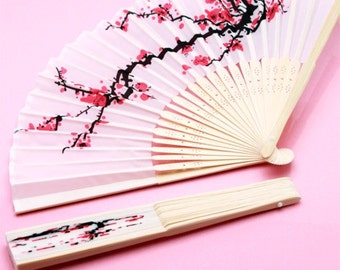 10 pcs Personalized Cherry Blossom Silk Hand Fans - Wedding Hand fans - Personalized Hand Fans - JM19882