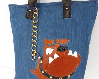 Denim bag with applique leather