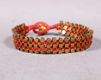 Beaded Bracelet-Plum Pink Bracelet- Boho Bracelet- Gold and pink Bracelet  B69