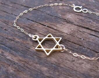 Gold bracelet, star of David, star of David bracelet, gold magen David bracelet, tiny bracelet, Jewish gift, judaica gift, bat mitzvah gift