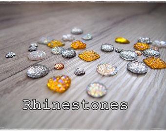 Set of 30 Mixed Rhinestones, flatback cabochon, scrapbooking embellishments, cardmaking, for cards, resins, shine, yellow, Gold Love