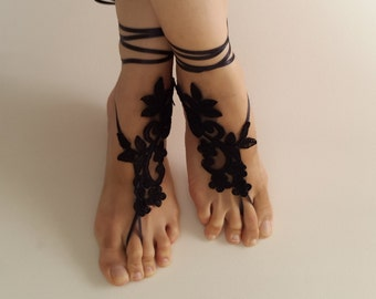 wedding shoes,summer shoes,barefoot sandals,costume shoes,bridal accessories, black lace sandals, free shipping! bridal sandals, bridesmaids