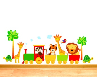 Childrens Jungle Animal Train - Lion Tiger Giraffe Tortoise Parrot - Nursery Printed Art Vinyl Wall Stickers - Designed by Rubybloom Designs