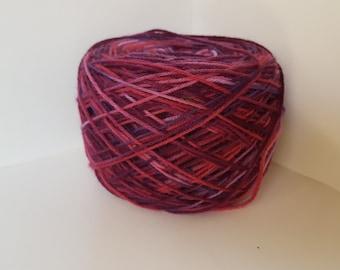 Hand painted yarn - Bethany - Plum and mauve superwash merino wool sock yarn