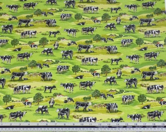 Countryside Cows Grass Green 100% Cotton High Quality Fabric Material *2 Sizes*