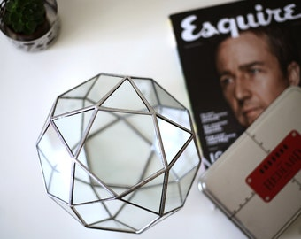 Icosidodecahedron / Handmade Glass Terrarium / Stained Glass Terrarium / Large Geometric Terrarium