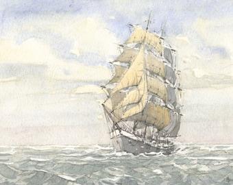 tall ship (watercolor)