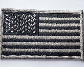 Black and White American Flag: Embroidered Iron on Patch