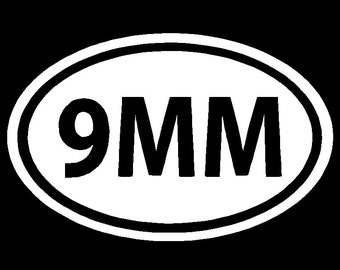 9MM Ammo Vinyl Decal Car Truck Window Sticker Laptop Graphic Different Sizes and Colors