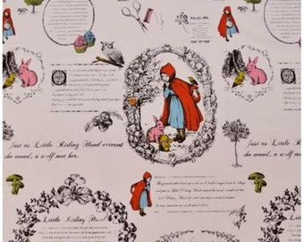 108cm x 58cm rare to find! Little Red Riding Hood Fabric Panel Cotton Light Pink