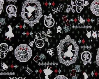 1/2 Yard Alice In Wonderland Fantastic! Silhouette Print Black/White