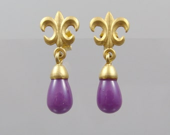 Earrings of Fleur de Lys with Heterosit gemstone p French Lily masters work forged hand work