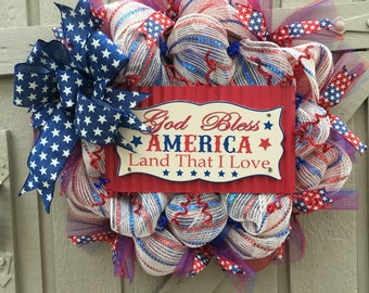 Labor Day Deco Mesh Wreath, 4th of July Deco Mesh Wreath, 4th of July, Red, White, and Blue Deco Mesh Wreath