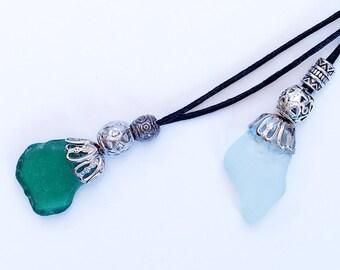 Sea glass pendants.