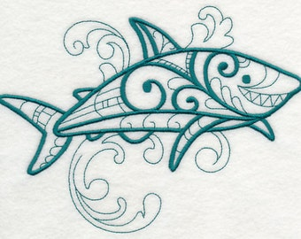 Doodle Shark Embroidered  on a Flour Sack Towel Hand Towel Dish Towel