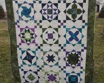 Handmade Unique Batik Star Sampler Quilt