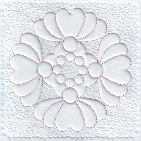 Quilting Trapunto Designs : Heart Machine Embroidery Design Quilt Block Trapunto