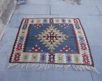 Kilim rug,Turkish vintage kilim rug, square wool rug,flat woven rug,pileless rug,29 x 37 inches,rustic decor rug !!!
