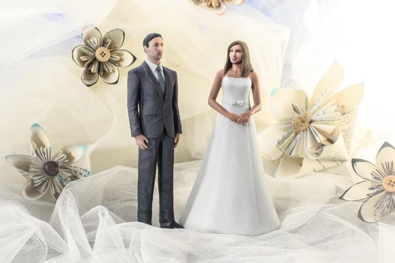 Custom 3D Printed Wedding Cake Topper With Your Face: Bride
