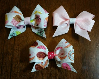 """3"""" Frosted Donut, Cupcake, Pink Glitter Hair Bow/Clip Set"""