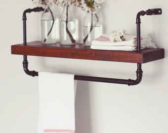 Industrial, Steampunk, reclaimed solid wood, steel pipe shelf. Hand made.