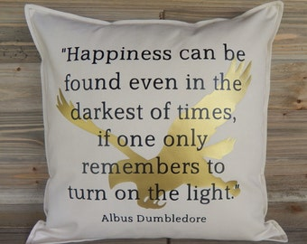 Harry Potter Inspired 16x16 Pillow Cover, Harry Potter Home Decor, Harry Potter Pillow Cover, Dumbledore Quotes, Decorative Pillow